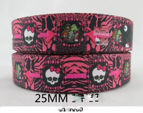 1 METRE NEW PINK MONSTER HIGH RIBBON SIZE 1 INCH BOWS HEADBANDS BIRTHDAY CAKE CARD MAKING